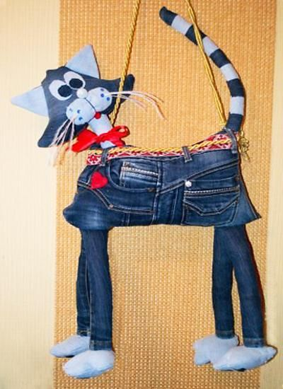 recycle crafts made of old jeans katzen tasche cat bag aus alt mach neu. Black Bedroom Furniture Sets. Home Design Ideas