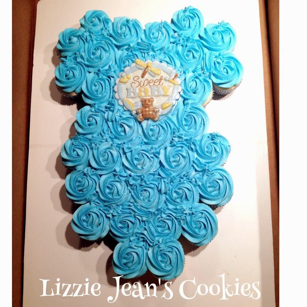 Sweet Onesie Cupcake Cake Baby Boy Shower Baby Shower Cupcakes