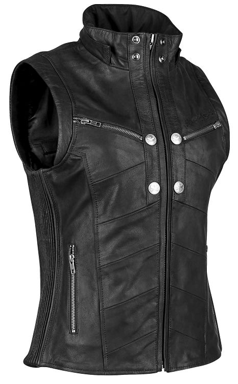 d991cc6c0d372 Speed and Strength Hell's Bells Ladies Leather Motorcycle Vest w/Removable  Hood…