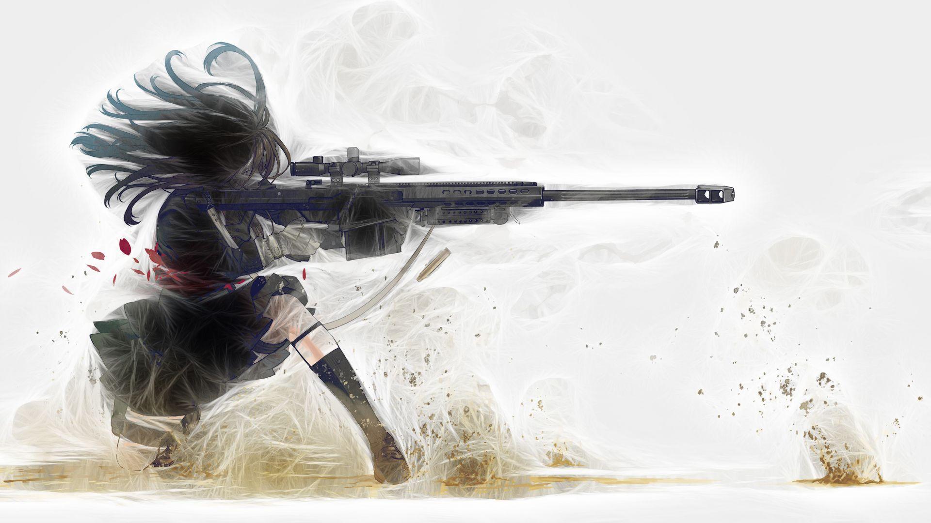 Anime Girl with Sniper Anime girl, Guns wallpaper, Anime