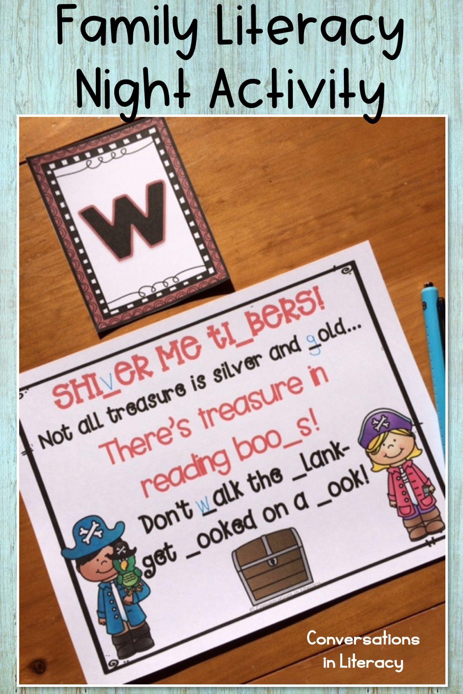 literacy night scavenger hunt pirate theme | parent teacher ideas