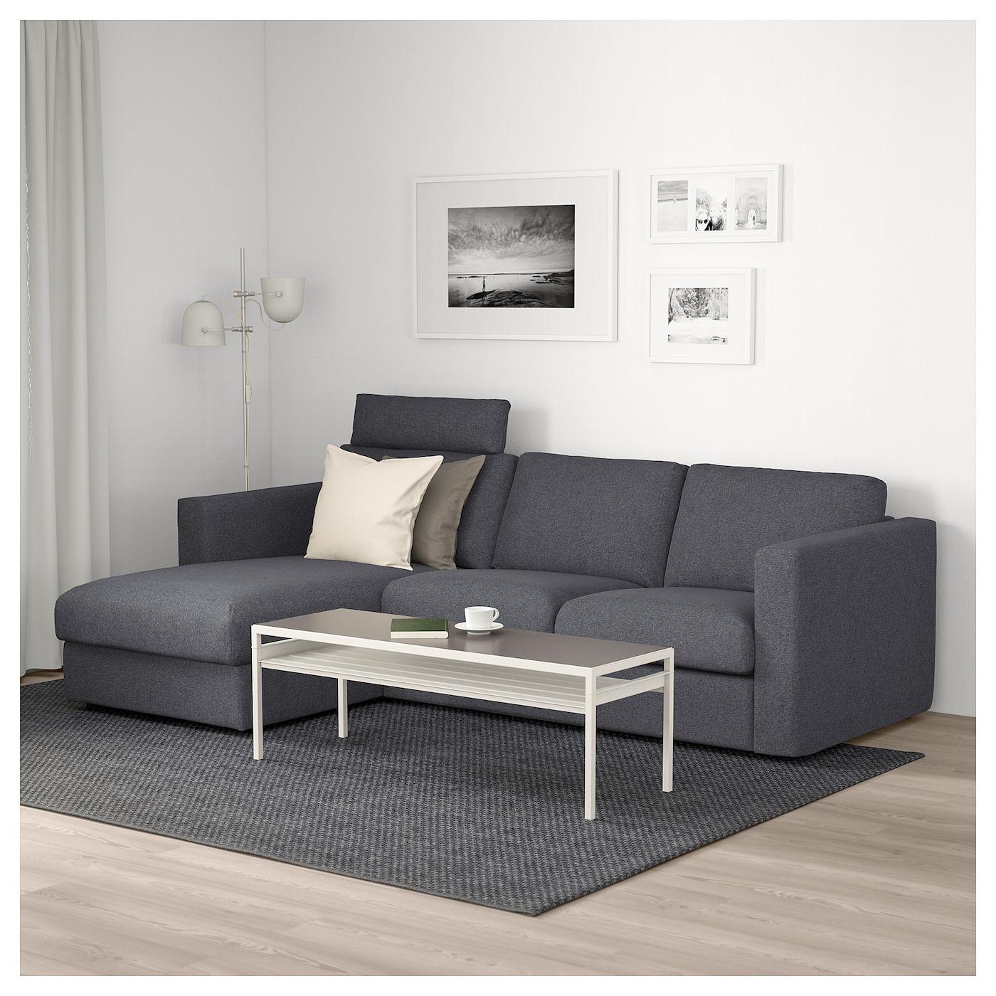 Vimle 3er Sofa Mit Recamiere Mit Nackenkissen Gunnared Mittelgrau Ikea Deutschland Three Seat Sofa Ikea Vimle Sofa Sofa