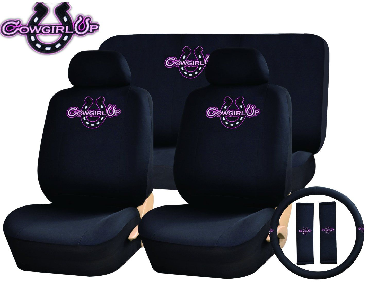 Custom pink leather car seat covers with quilted centers