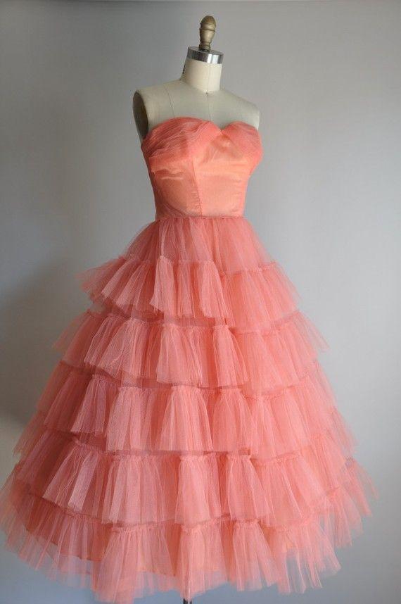 vintage pink ruffle dress] etsy   1950s   Pinterest   La ropa, Me ...