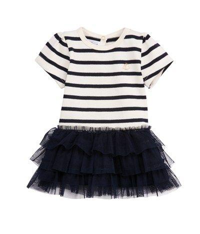 32b6b617a1ee7 Robe bébé fille en jersey lourd à rayure marinière et en tulle bleu Abysse    beige Coquille - Petit Bateau