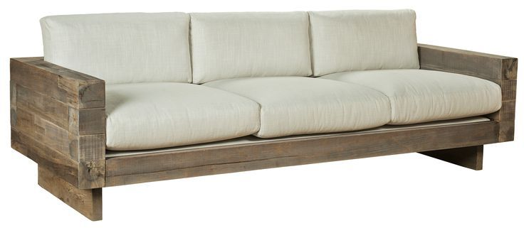 Farmhouse Sofa | Reclaimed Cedar 4x4 Sofa Couch. Simple Linen Fabric  Upholstery?