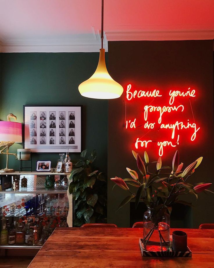 "@meganellaby on Instagram: ""Saturday nights in the vibe-iest dining room ever � we had a custom neon made with the lyrics from our song, written in my handwriting and…"""