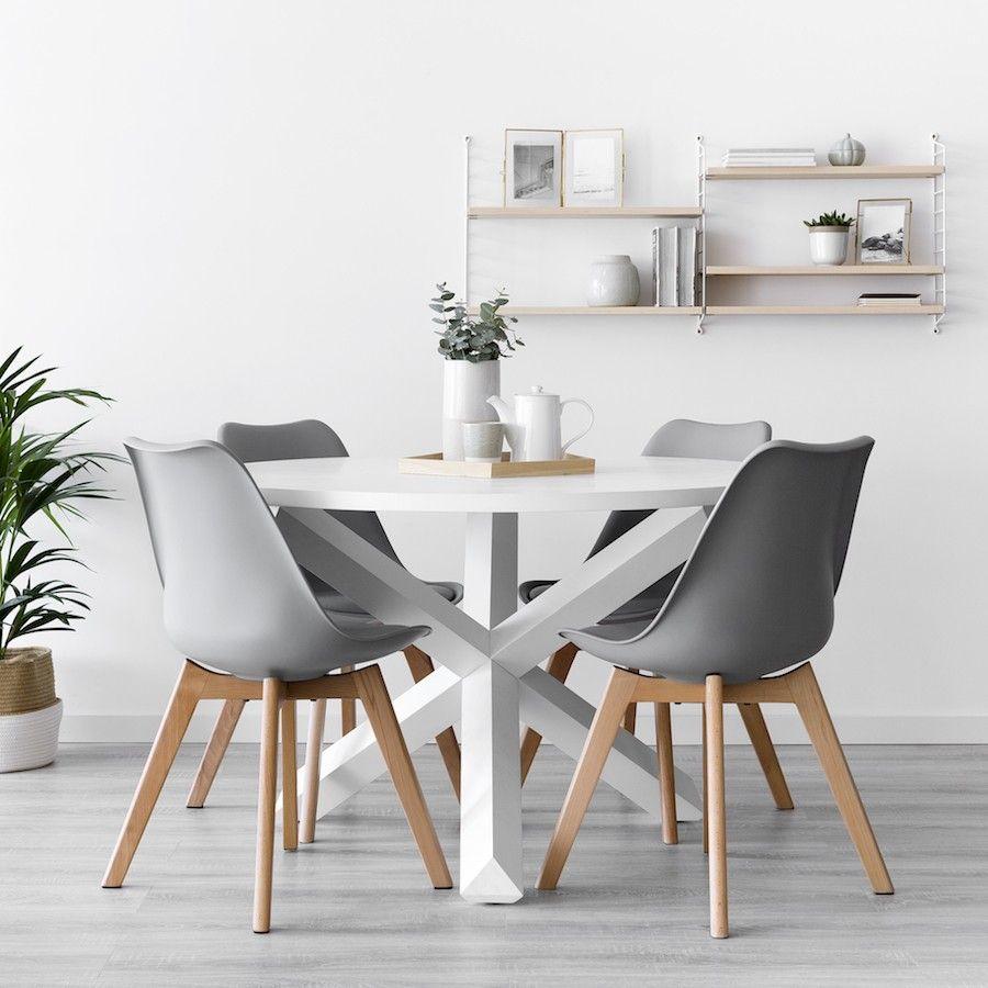 Cross mesa redonda blanca en 2019 | Decoración mesa comedor ...