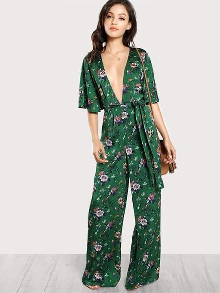 00ed8adc08c Half Sleeve Green Floral Jumpsuit
