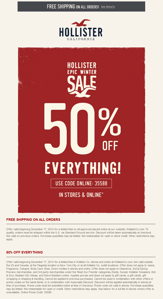 Pinned December 18th 50 Off Everything At Hollister Or Online Via Promo Code 35588 Coupon Via The Coupons Get Money Online How To Get Money Online Coding