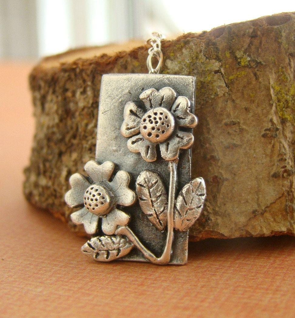 Silver Sunflower Metal Clay Fine Silver Pendant By