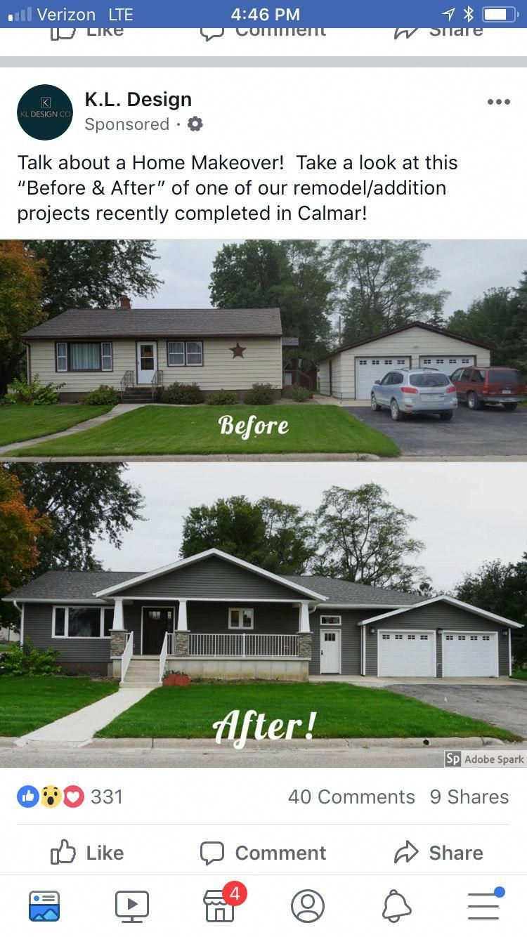 Love The Blue And White Ranch And Attached 2 Car Garage Perfect Ranch House Remodel House Makeovers House Exterior
