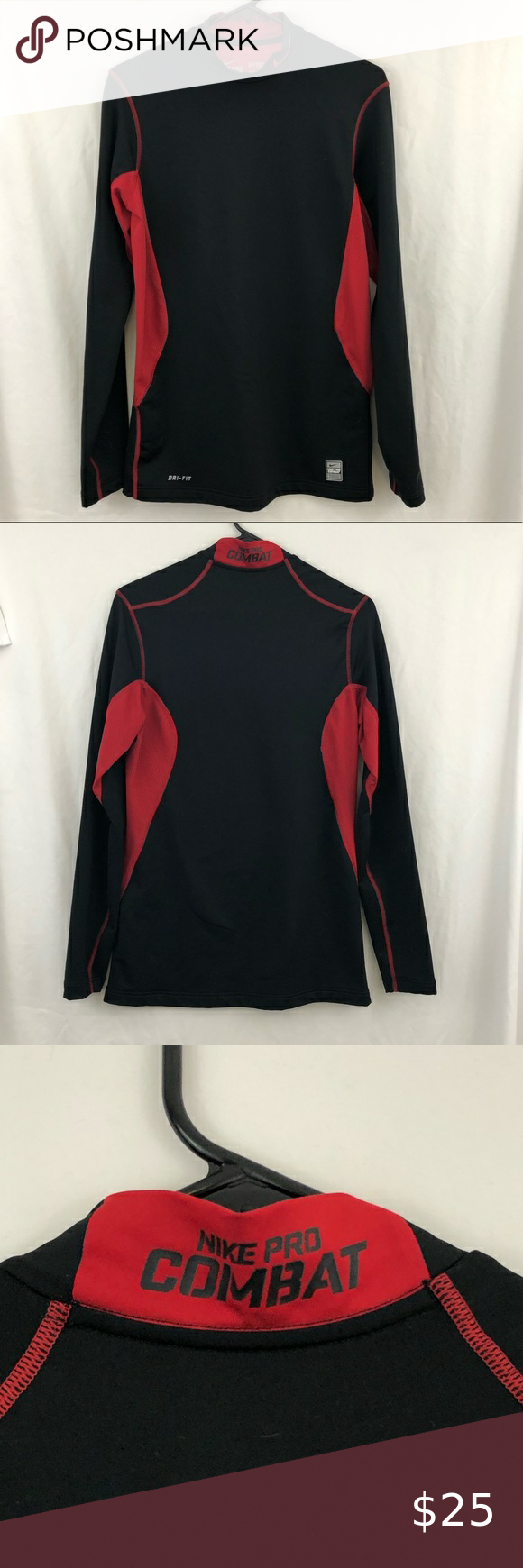Nike Pro Combat Hyperwarm Dry Fit Black Red Shirt Nike Pro Combat Hyperwarm Dry Fit Black Red 1 4 Zip Sz M Sh Red And Black Shirt Nike Pro Combat Black And Red [ 1740 x 580 Pixel ]