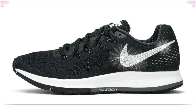 Over Discount Off Popular 2017 Fashion glitter kicks Nike Air Zoom Pegasus  33 Crystallized Swarovski Swoosh Black 79010bb45f7d