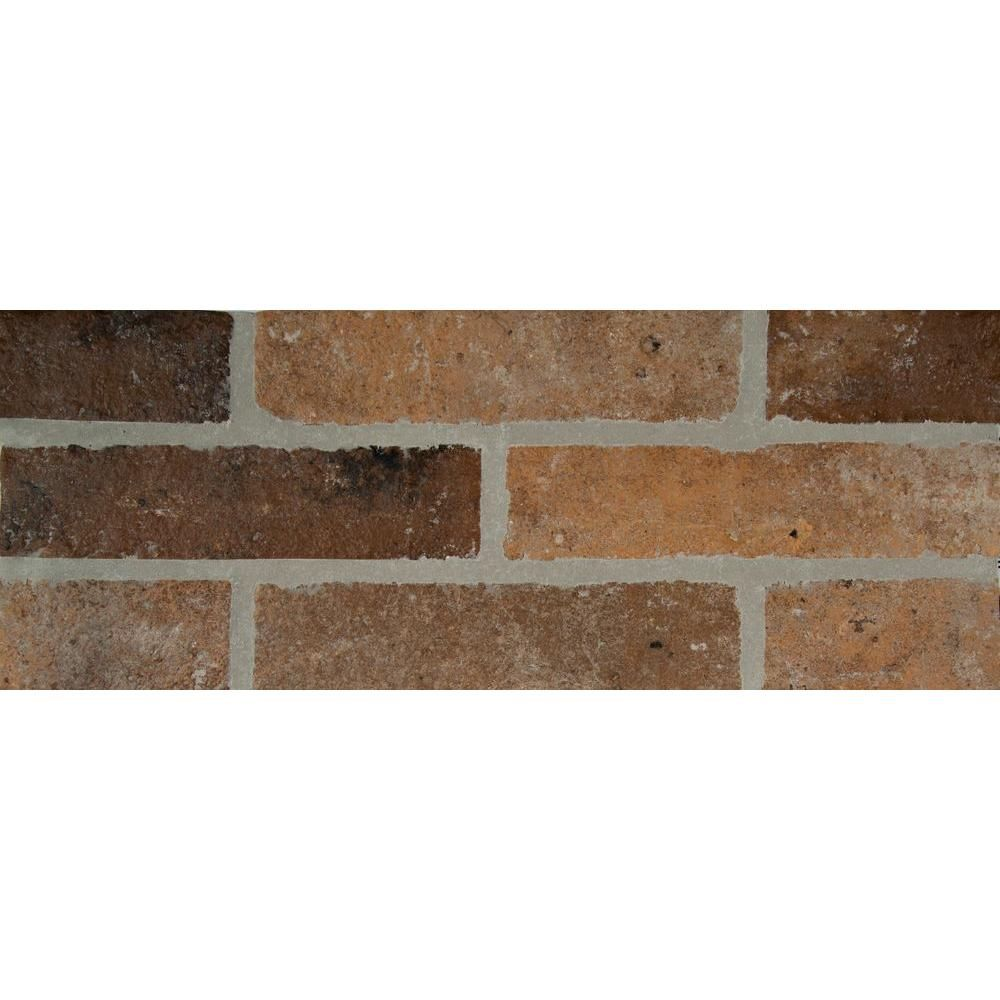 Msi Rustico Brick 2 1 3 In X 10 In Glazed Porcelain Floor And Wall Tile 5 17 Sq Ft Case Nhdrusbri2x10 Wall Tiles Travertine Floors Brick Flooring