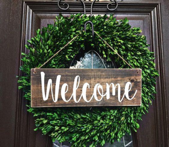 Welcome Wood Door Sign with twine • Handmade, hand painted ...