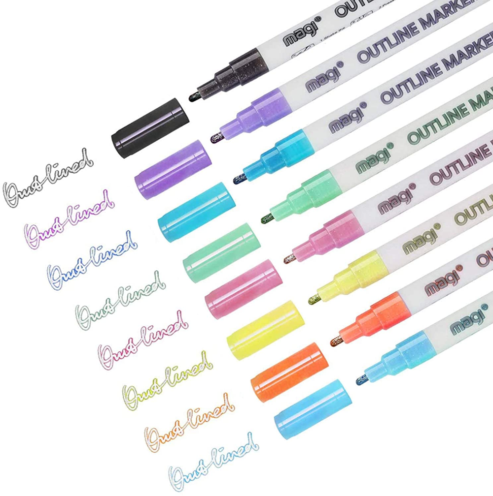 Amazonsmile Super Squiggles Outline Marker Set Self Outline Metallic Markers Double Line Pen Journal Pens 1 Set 1pcs Kitche In 2021 Markers Set Squiggles Markers
