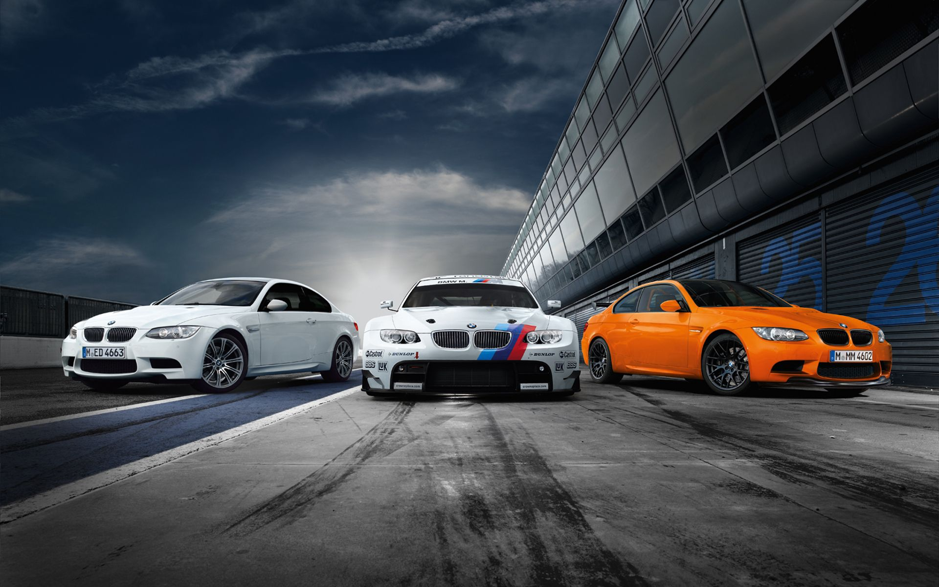 Three BMW M3s.