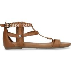 Photo of Cognac-colored sandals with braided metallic straps (36,37,38,39,40,41,42) Manfieldschuhe.de