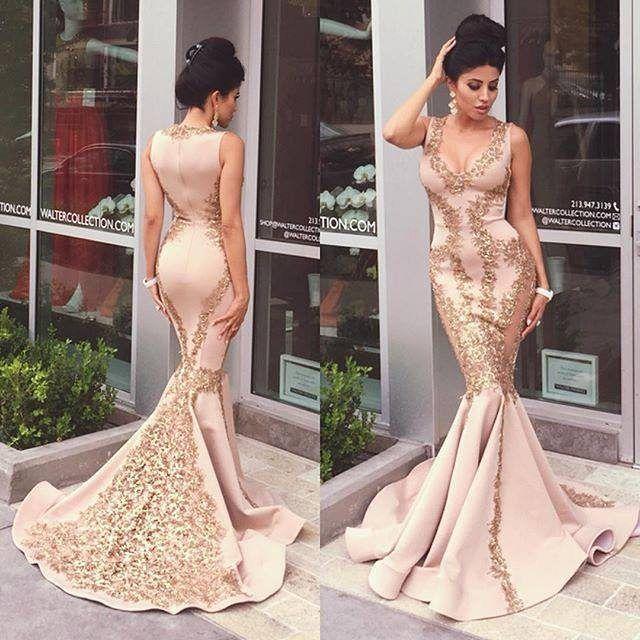 Gold v neck prom dresses mermaid | Wedding dress | Pinterest ...
