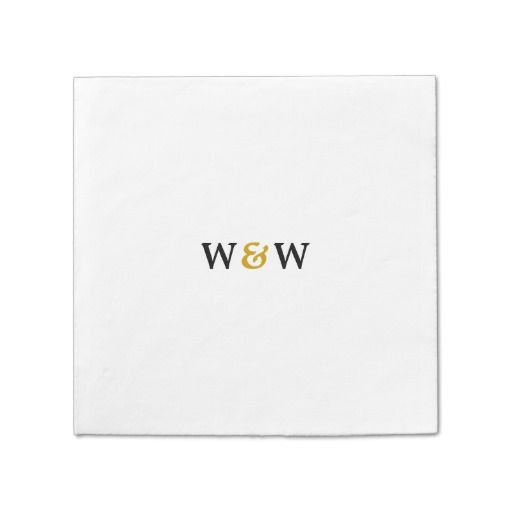 Bold Gold Monogram Standard Cocktail Napkin for Couples