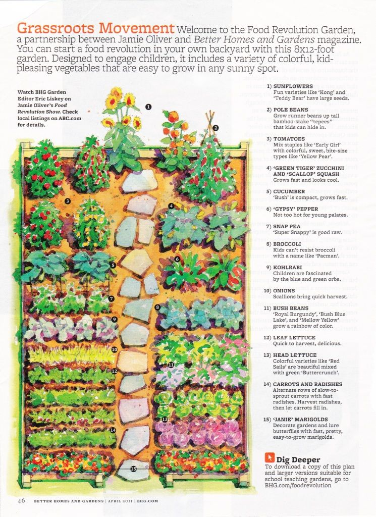 Garden layout bhg magazine pinteres for Vegetable garden box layout