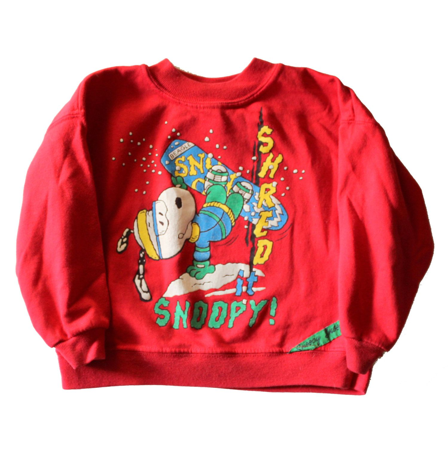 vintage 80s shred it snoopy snowboard peanuts christmas sweater made in