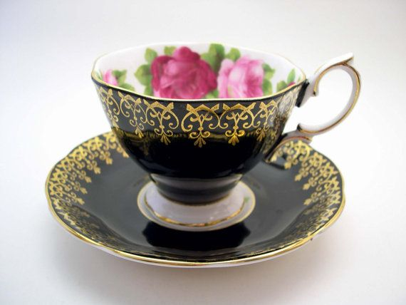 Antique Royal Albert Tea Cup And Saucer, Old English Rose, Black background, Gainsborough