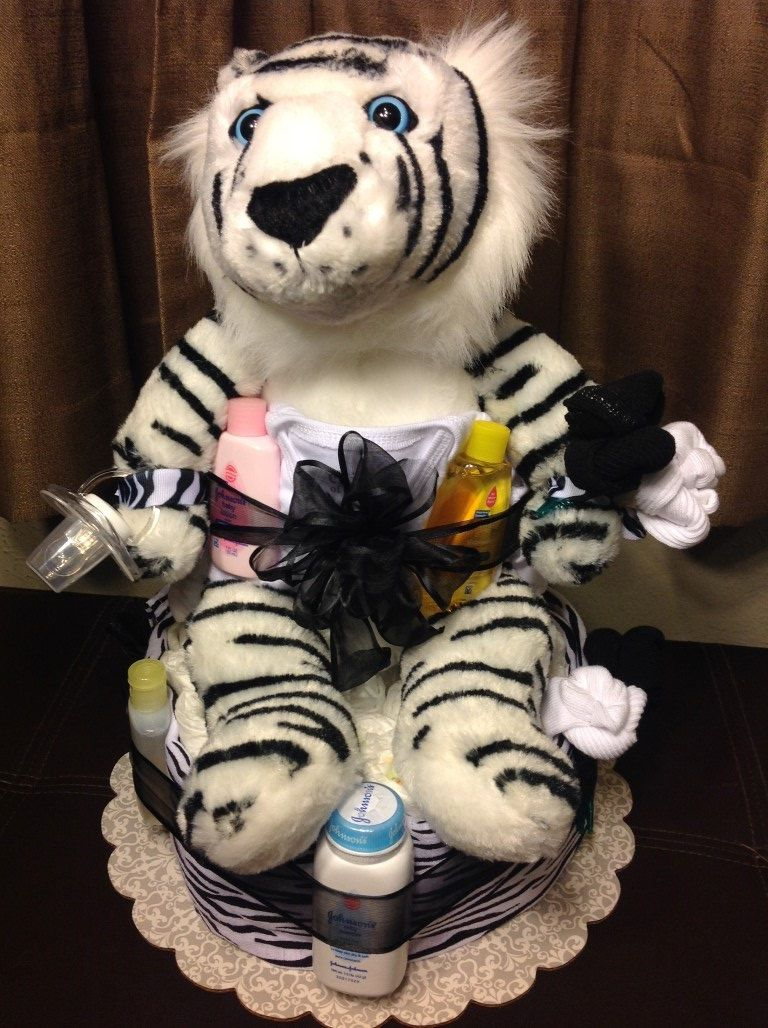 White Tiger Diaper Cake Httpbabyshower Decorations
