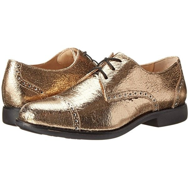 Womens Shoes Cole Haan Gramercy Oxford Chestnut Gold Metallic Crackle/Black