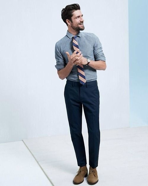 Men's Blue Chambray Dress Shirt, Navy Dress Pants, Brown Suede ...