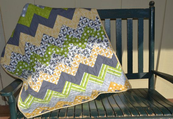 Check out this item in my Etsy shop https://www.etsy.com/listing/249124577/handmade-baby-boy-chevron-quilt-green