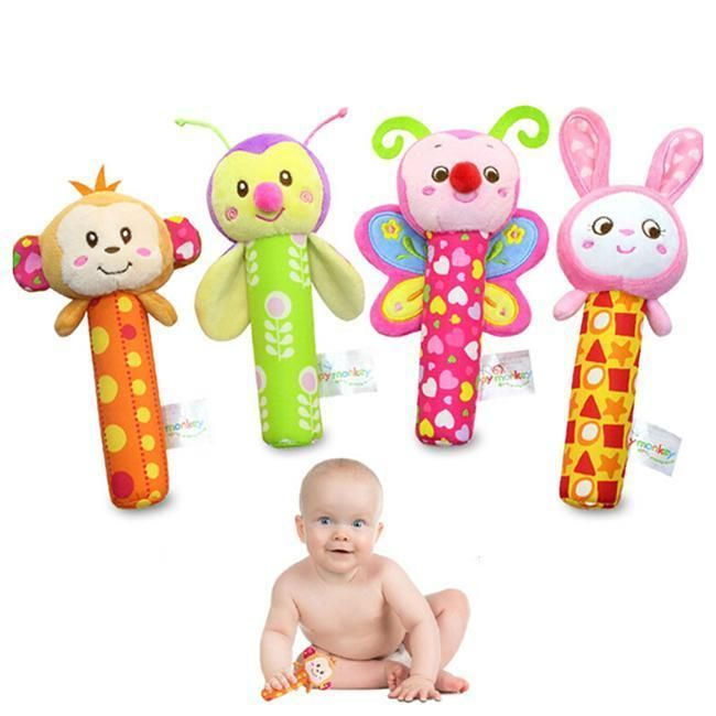 Newly Soft Sound Animal Handbells Plush Squeeze Rattle For Newborn Baby Toy Gift