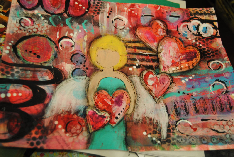 angel art mixed media unique original painting Lotsa Love by ValVArt on Etsy