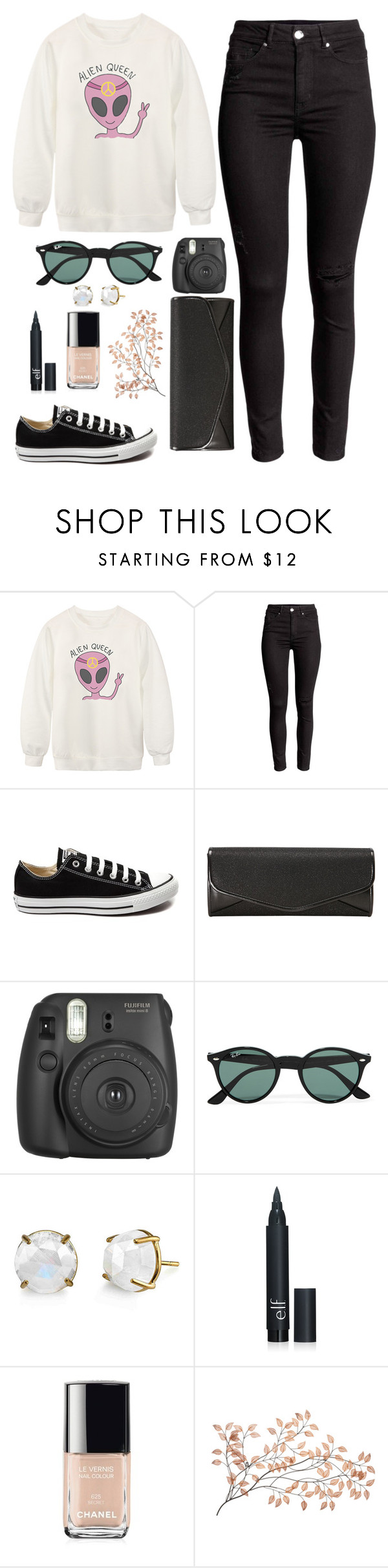 """Alien queen"" by aemun-ahmad ❤ liked on Polyvore featuring Chicnova Fashion, Converse, J. Furmani, Ray-Ban, Chanel, women's clothing, women, female, woman and misses"