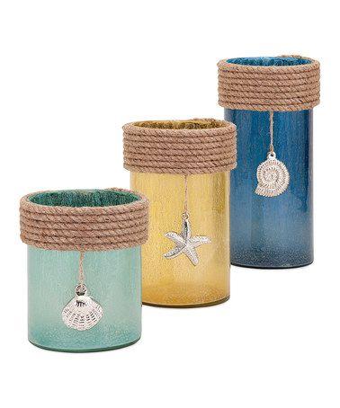 Loving this Aqua, Yellow & Blue Sea Coast Hurricane Jar - Set of Three on #zulily! #zulilyfinds