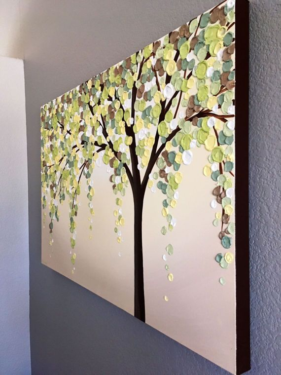 Amarillo verde y marrón textura árbol pintura Original