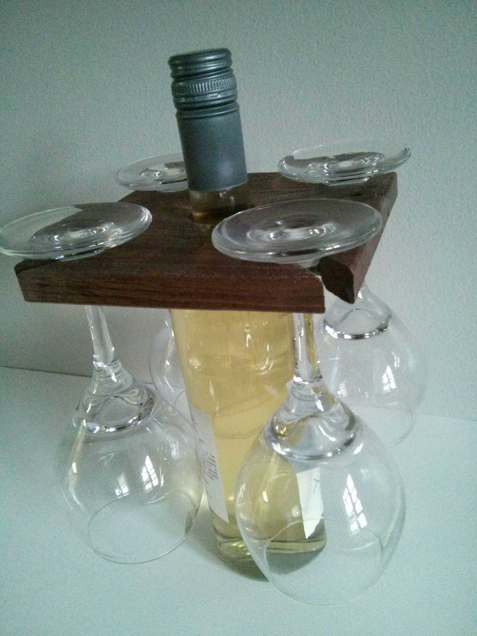 Wine Holder Ideas Wood Wine Glass And Bottle Holder Party For Four Reuse