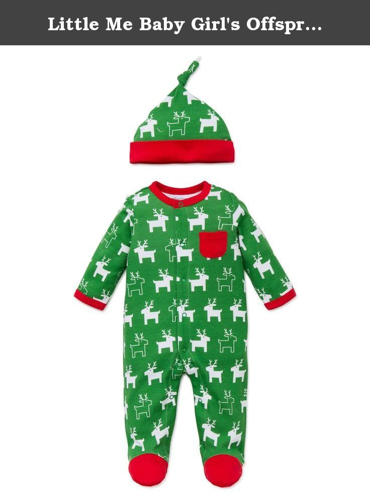 3b79c648e4411 Little Me Baby Girl s Offspring Green Reindeer Footie Hat Set (6 months).  Green Reindeer footie for your little one First Christmas!