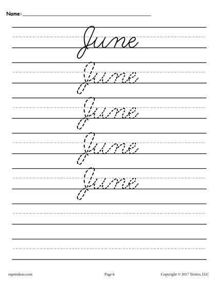 12 free months of the year cursive handwriting worksheets handwriting practice sheets. Black Bedroom Furniture Sets. Home Design Ideas