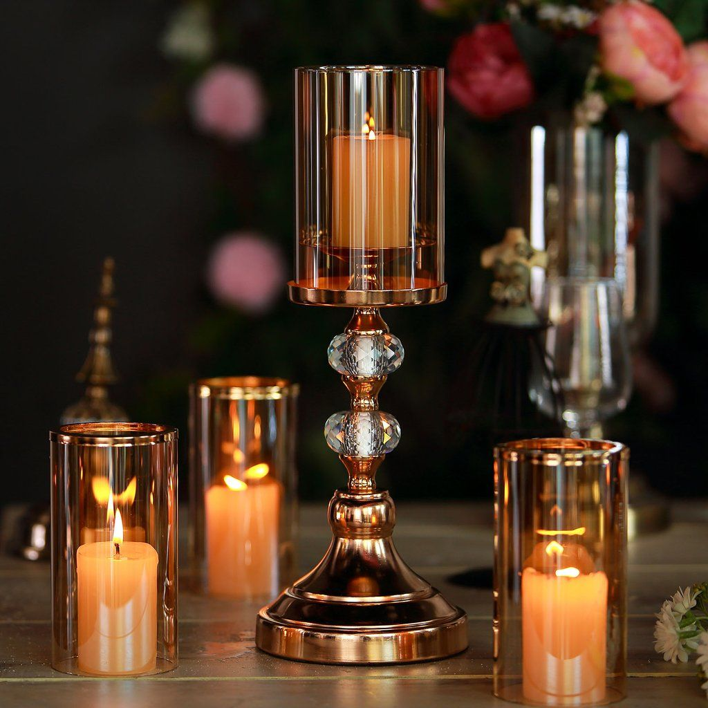 15 Tall Gold Metal Pillar Candle Holder With Hurricane Glass Tube Crystal Candle Holders Centerpieces Candle Holders Candleholder Centerpieces