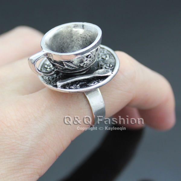 Tea cup ring Alice in Wonderland adjustable silver ring TEA TIME Teacup mad hatter VJjvKDcUN