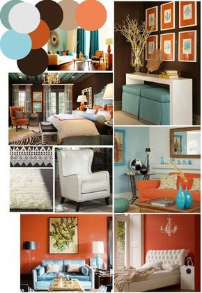Color Palette Inspo Chocolate Brown Coral And Robin S Egg Blue Living Room Orange Burnt Orange Living Room Brown Living Room Decor