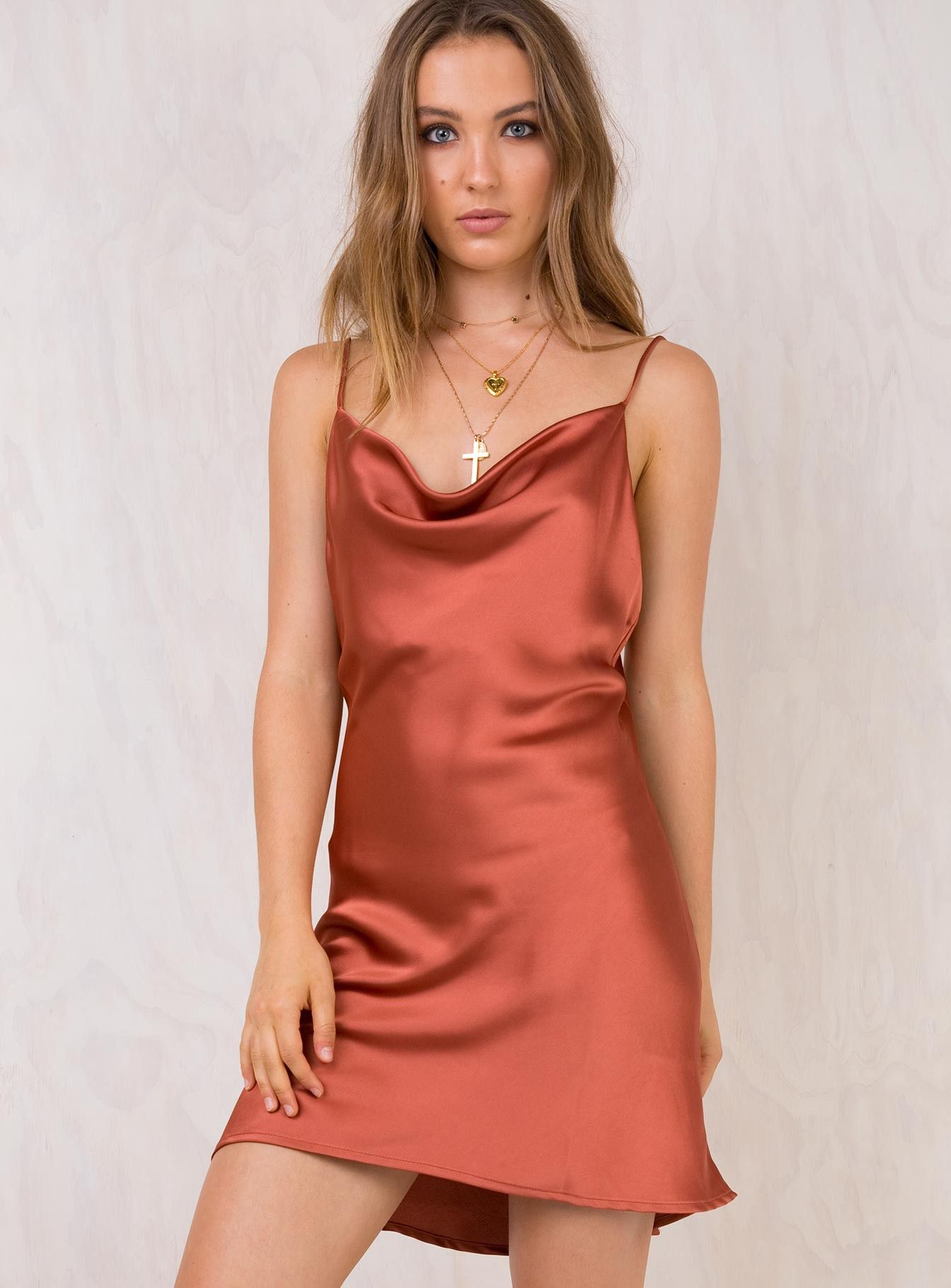 96cfa4b43f6 Betta+Vanore+Mini+Dress+Rust+-+ Silky+mini+dress Cowl+neckline Low+cut+back  Adjustable+straps Smooth+silky+material Lined+bust 100%+Polyester ...