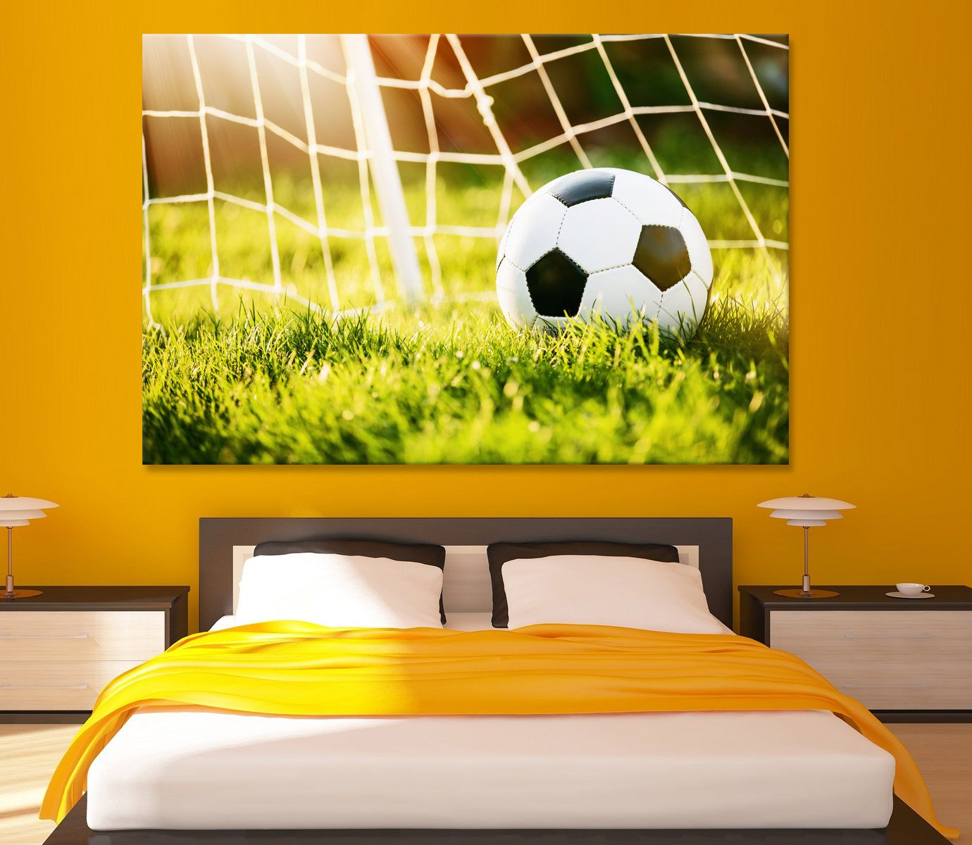 Canvas for Wall Decoration Canvas print Football Soccer ball in goal ...