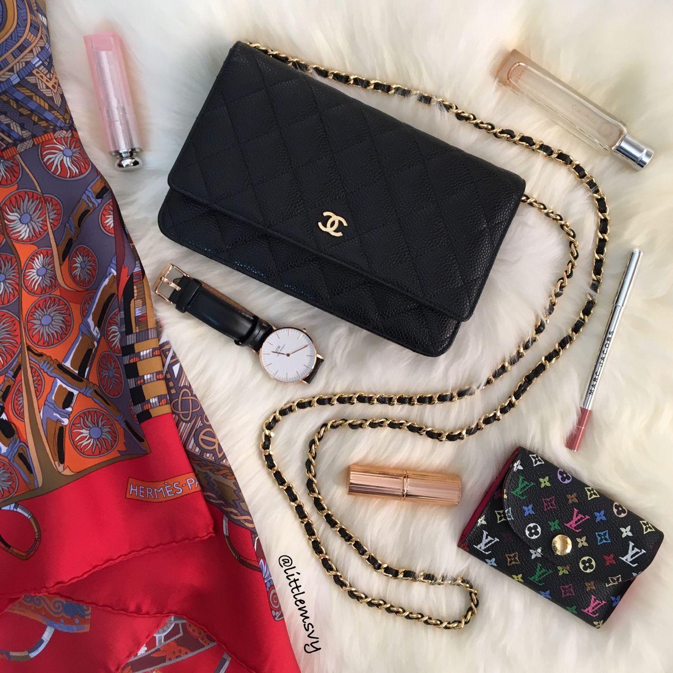 chanel woc caviar leather hermes scarf louis vuitton card holder multicoloure