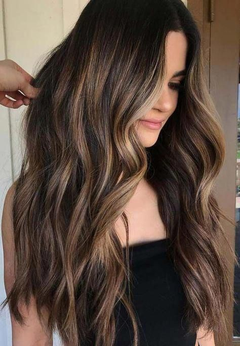 Hairstyles Featuring Dark Brown Hair With Highlights Hairstyles Darkbrownhair Womenshairstyle In 2020 Hair Highlights Brunette Hair Color Brown Hair With Highlights