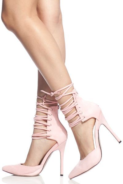 91f18d131035 Light Pink Faux Suede Lace Up Pointed Toe Heels