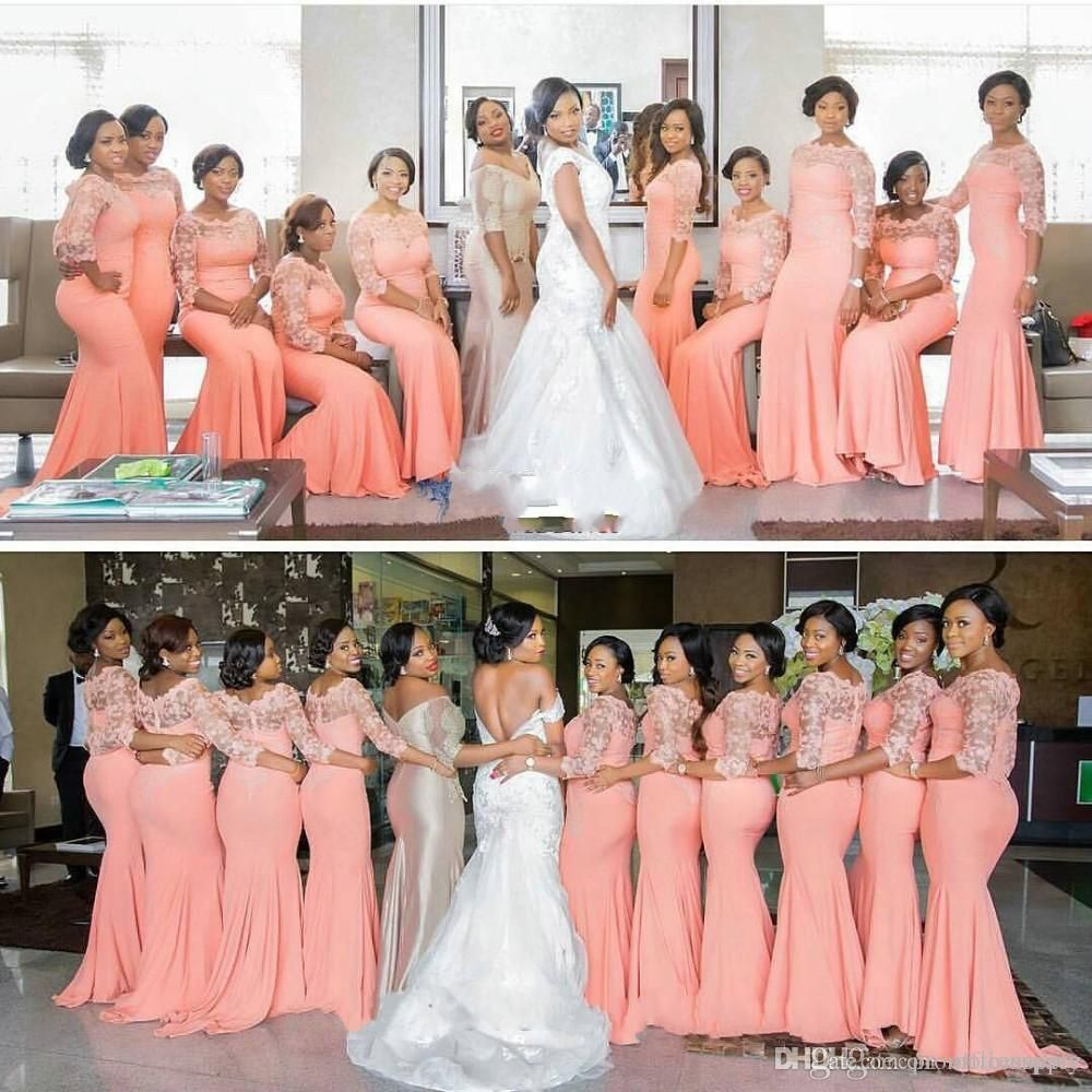 Cheap Elegant Coral Long Bridesmaid Dress with Sleeves Plus Size ...