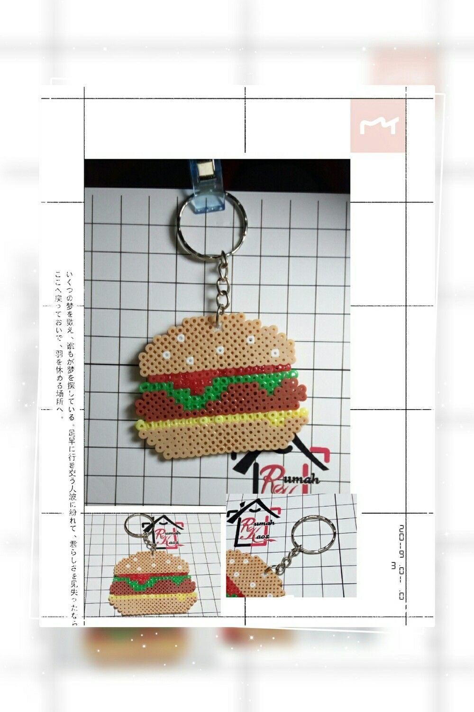 Saya menjual RumahKaos Hamburger gantungan kunci pixelarts